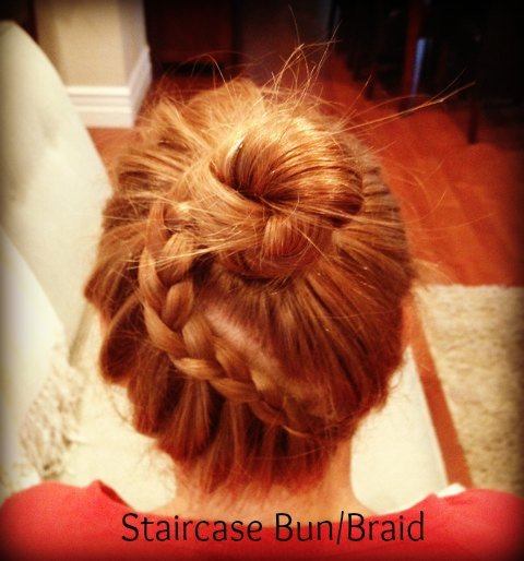 staircase bun braid
