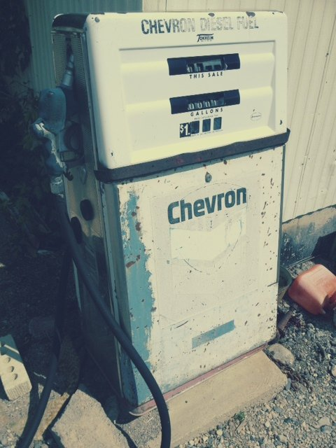 vintage chevron gas pump