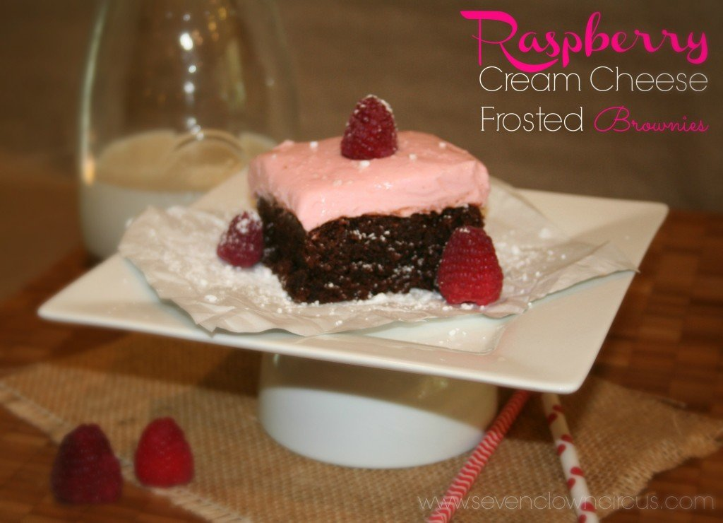 Raspberry Cream Cheese Frosted Brownies