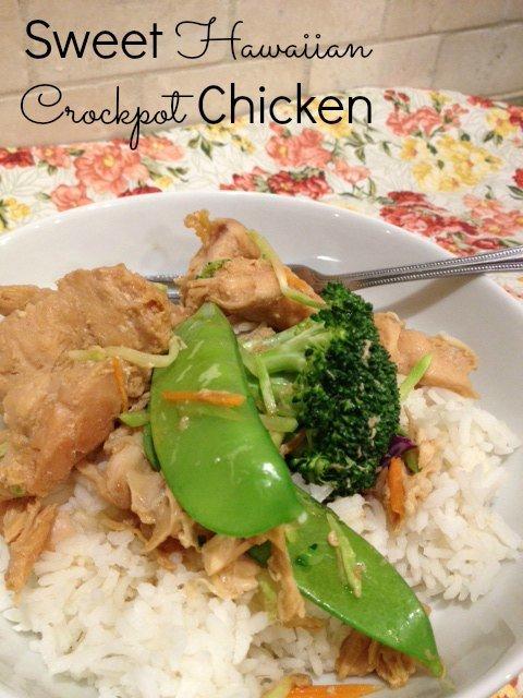 Sweet Hawaiian Crockpot Chicken Rice Bowls