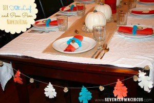 DIY Felt Leaf and Pom Pom Napkin Ring