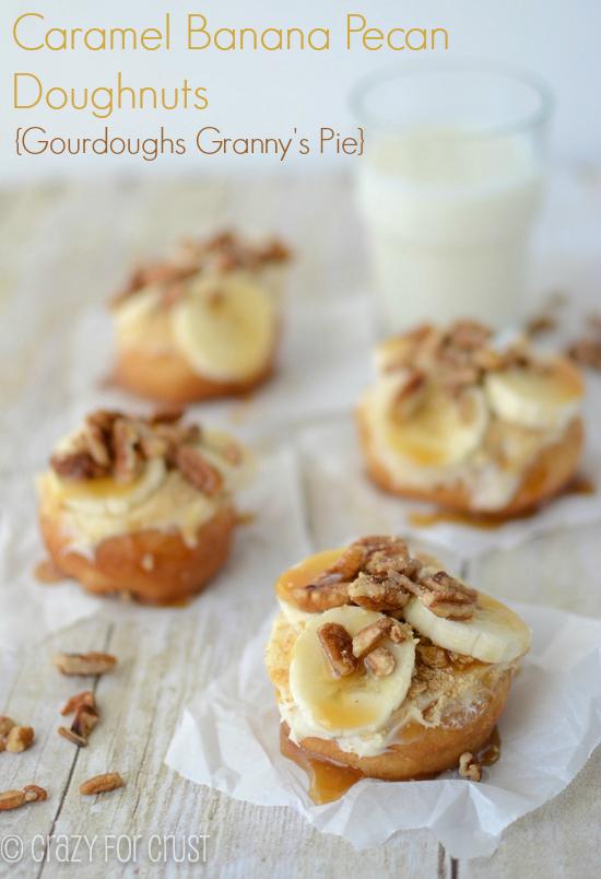 Banana Caramel Pecan Doughnuts