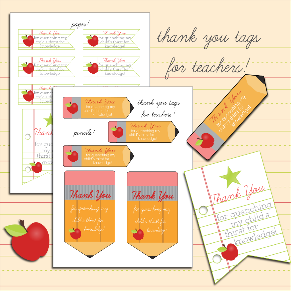 picture relating to Free Printable Teacher Appreciation Gift Tags identified as Absolutely free Printable Thank By yourself Tags for Lecturers trainer