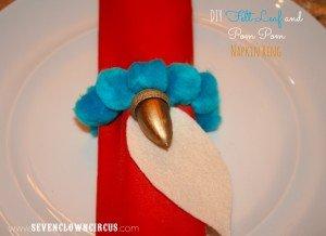 DIY Felt Leaf and Pom Pom Napkin Ring