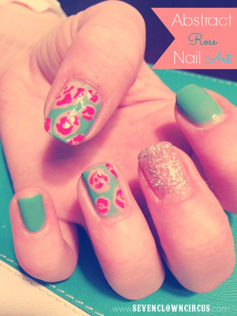 abstract rose nail art