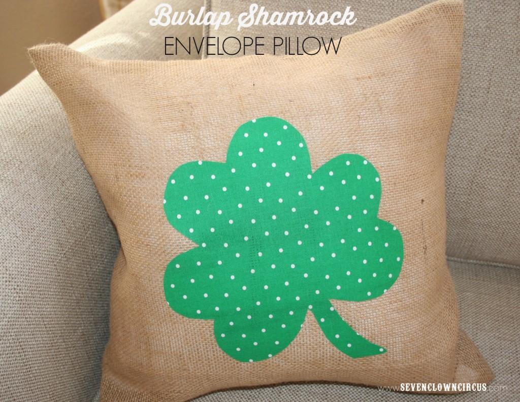 burlap shamrock envelope pillow